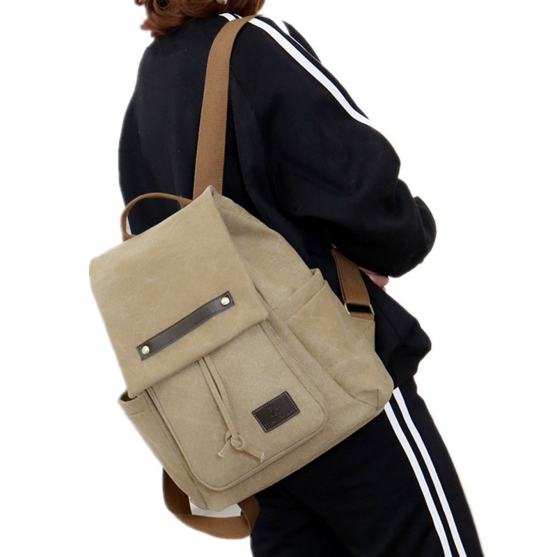 New men and women retro outdoor canvas backpack fashion shoulder bag zipper stitching