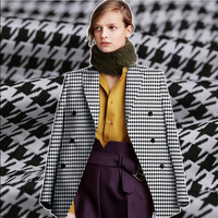 Good Quality Coat Fabric Europe U.S Style Black/white Grid Knit Jacquard Thick Fabric Sewing Material DIY Autumn Suit 143cm wide