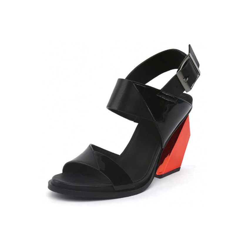 Zomer vrouwen Sandalen Echt Leer Gemengde Kleur 9cm Vreemd Hak Sandaal Vrouw Platform Sandalen Schoeisel HL35 MUYISEXI