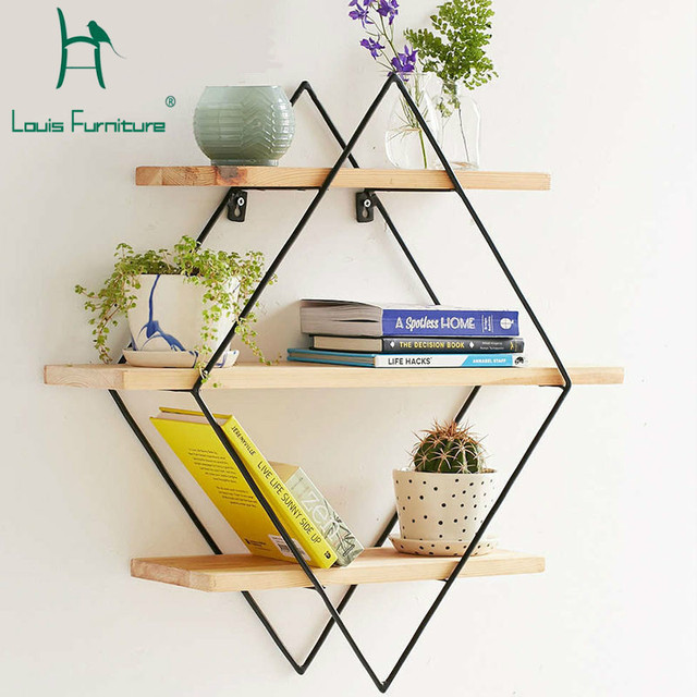 Louis Fashion Simple Modern Wood Wall On The Rack Shelf Hanging A Living Room Parion Frame