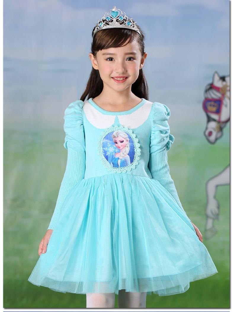 New Autumn Winter Girls Long sleeve Sweater Dress Children Clothes Cute Blue Puff Sleeve Elsa Princess Dress Party Costumes.YL19 batwing sleeve pocket side curved hem textured dress