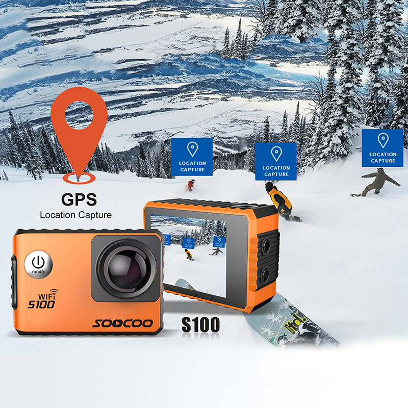 4K WIFI Action Camera UHD Waterproof DV Camcorder 2.0' Screen Gyro 12MP 30m Diving Outdoor Sport DV S100 Cam Pro with GPS soocoo s100 pro 4k wifi action video camera 2 0 touch screen voice control remote gyro waterproof 30m 1080p full hd sport dv