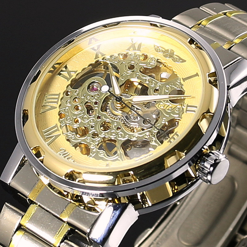 WINNER Gold Men Skeleton Mechanical Watch Stainess Steel Steel Hand Wind Watches Transparent Steampunk Montre Homme Wristwatch men s skeleton mechanical watch classic transparent steampunk wristwatch stainless steel watch ll