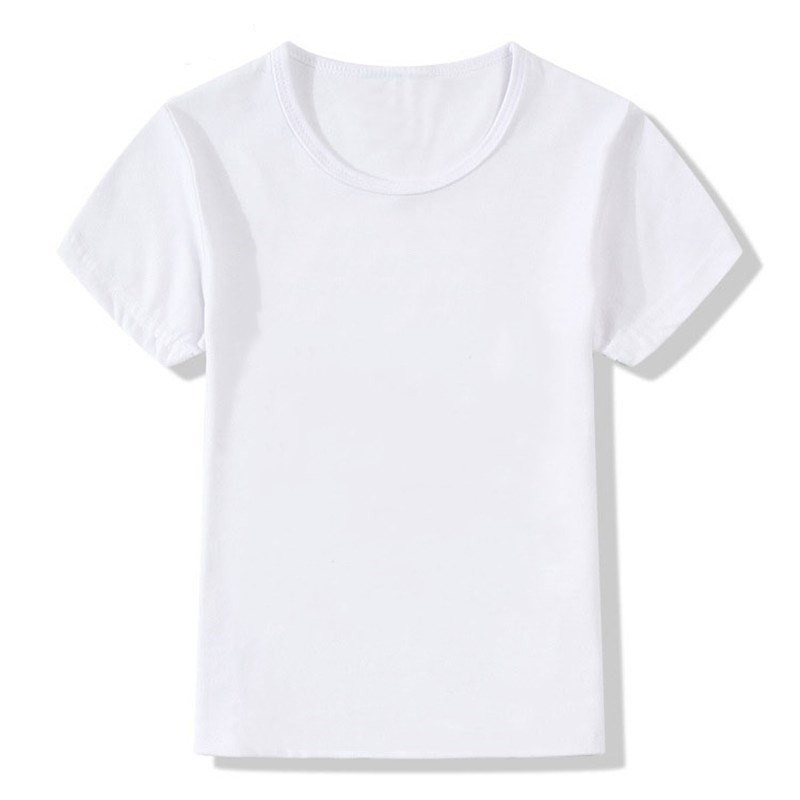 Solid White Cotton Modal Custom Children Summer T Shirt DIY Print Girl Boys T Shirt Kid's Casual Top