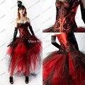 Custom Made 2015 negro y rojo del cordón BLing una línea de encaje vestido de fiesta gótico victoriano Vestidos altos bajos de cóctel Vestidos de Noiva