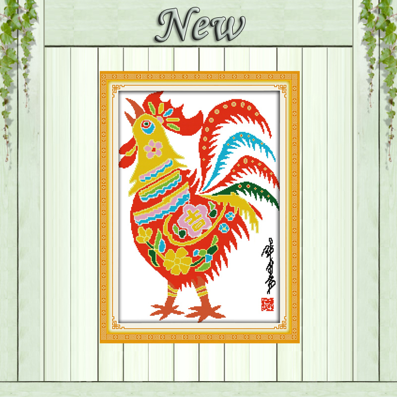 Package Beautiful Paper Cutting Big Rooster Paintings Counted Printed On Canvas Dmc 14ct 11ct Chinese Cross Stitch Needlework Sets Embroidery Kits Ample Supply And Prompt Delivery Home & Garden