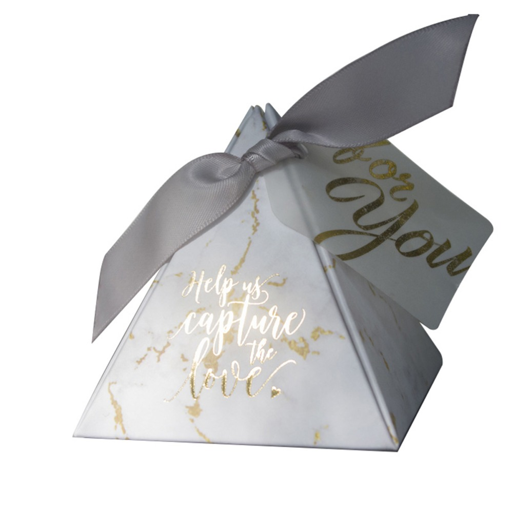 Image 5 - YOURANWISH 50pcs/Lot Creative Marbling style Candy Boxes Pyramid Wedding Favors Party Supplies Baby Shower thanks Gift Box-in Gift Bags & Wrapping Supplies from Home & Garden