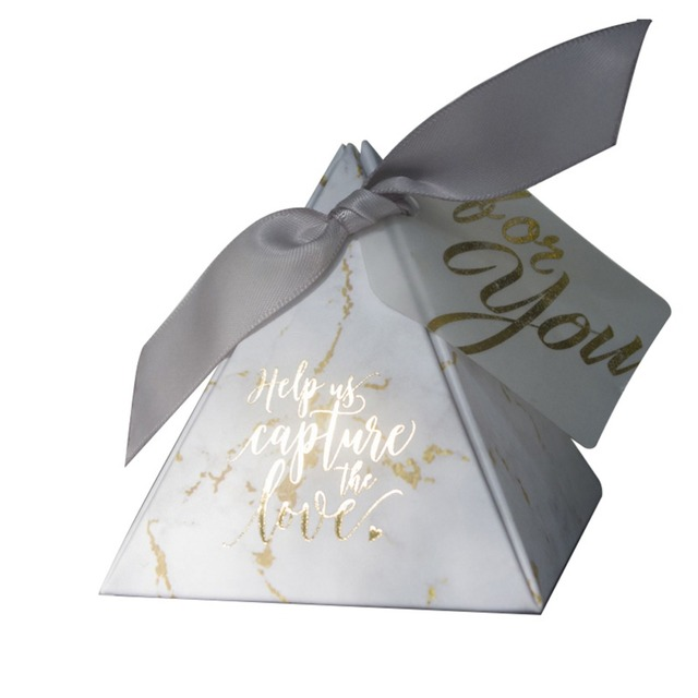 YOURANWISH 50pcs/Lot Creative Marbling style Candy Boxes Pyramid Wedding Favors Party Supplies Baby Shower thanks Gift Box