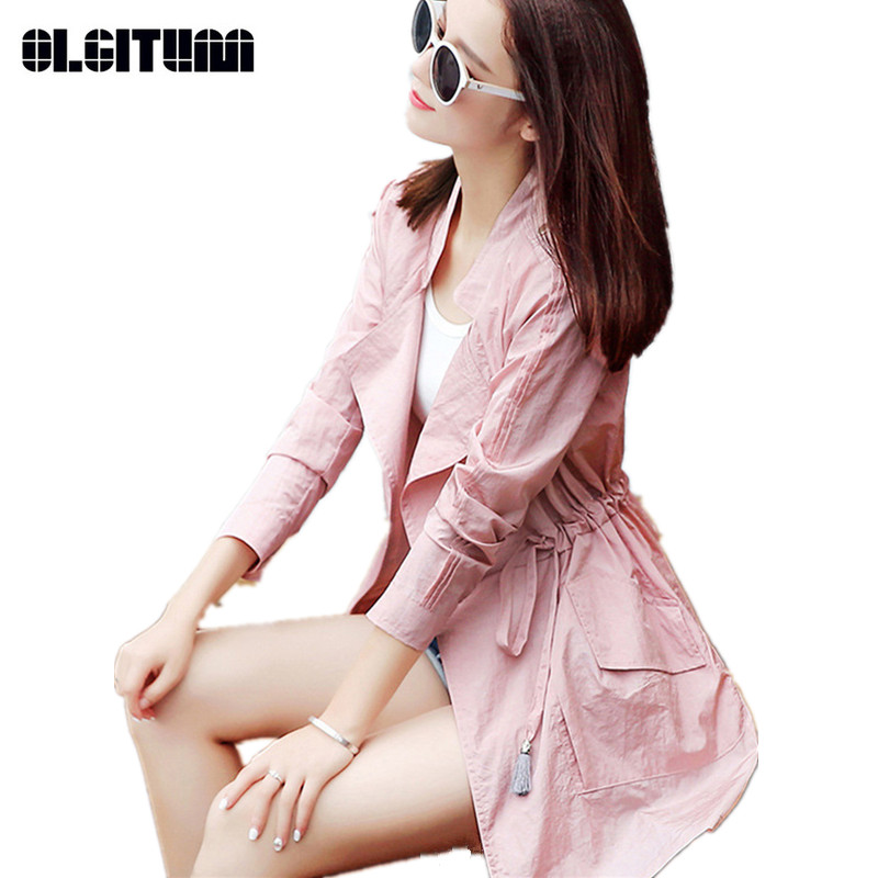 Long Female's Windbreaker New Spring/Autumn Loose Lady   Trench   Coat Large Size Thin Sun Protection Women's   Trench   TR106