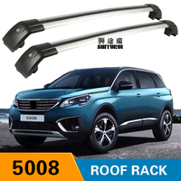 SHITURUI 2Pcs Roof bars For PEUGEOT 5008 2017 2018 Aluminum Alloy Side Bars Cross Rails Roof Rack Luggage Carrier