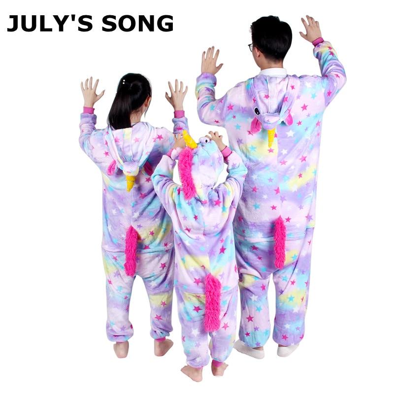 Unicornio Rosa pijamas de franela de conjuntos de dibujos animados Animal padre-hijo de invierno pijamas de invierno Cosplay Kigurumi los hombres y las mujeres ropa de dormir de invierno Unisex