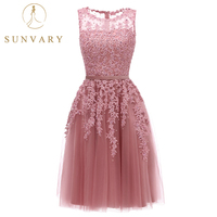 Sunvary Pink Appliqued Graduation Dresses Sleeveless Knee Length Tulle 8th Grade Formal Gown Custom Made Pearls Homecoming Dress
