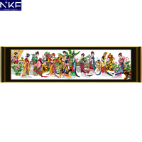 NKF Twelve Jinling Ladies Counted Cross Stitch Set Needlework Embroidery Chinese Stampede Cross Stitch Kits for Home Decor
