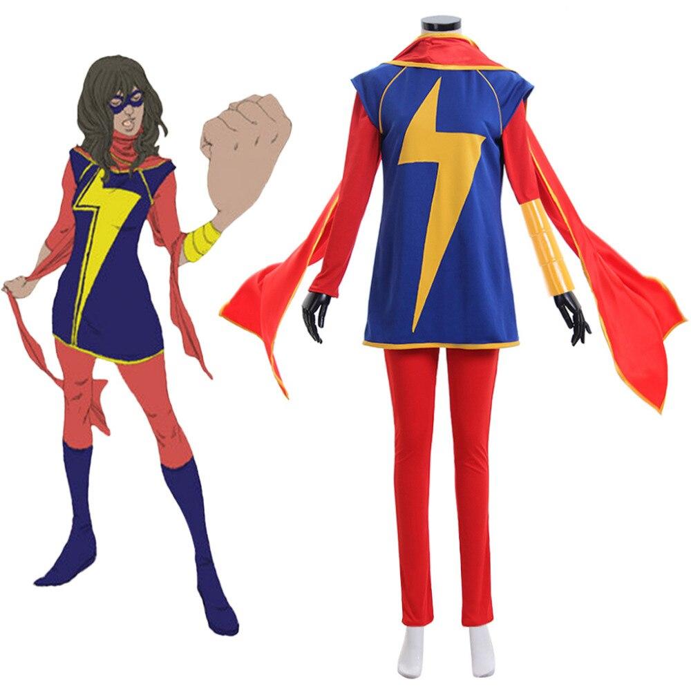 Marvel Comics Ms. Marvel Costume Kamala Khan Cosplay Costume Suit Adult Halloween Cosplay Costume
