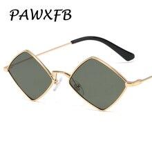 PAWXFB 2019 New diamond shape Sunglasses Women Men Celebrity Small frame Sun Glasses Brand Designer Eyewear