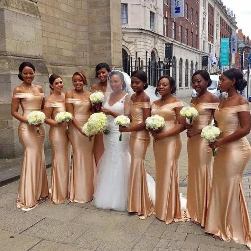 Bridesmaid Dresses Off Shoulder Mermaid Formal Party Gowns Back Zipper Sweep Train Long Bridesmaids Gowns