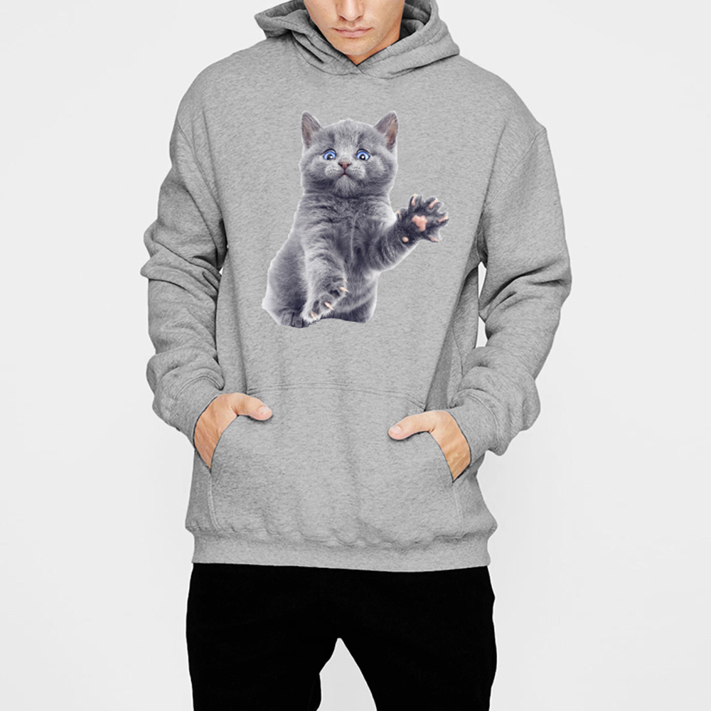 ESHINES 2019 New Fashion Causal Hoodies Men Polyester Windproof Lovely Cat Print Pattern Big Size Popular Hoodies For Male Cheap