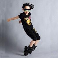 NEW Jazz trang phục múa cô gái Trẻ Em áo bông bộ quần áo harem quần + T shirt 2 cái hip-hop trẻ em boy quần áo Set thời trang dạo ph