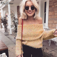 Hugcitar Solid Long Sleeve Off Shoulder Knitted Sweater 2017 Autumn Winter Women Slash Neck Sexy Casual