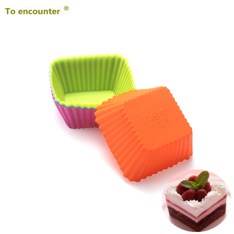 Pcs Lot Square Shape 3d Silicone Muffin Cupcake Moulds