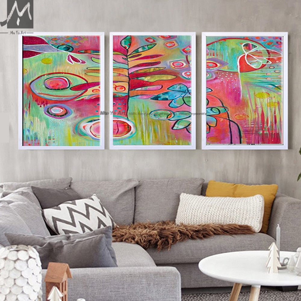 3 panel abstract modern canvas wall handmade decorative pink 3 panel abstract modern canvas wall handmade decorative pink flower triptych oil painting on canvas for living room decoration in painting calligraphy amipublicfo Images