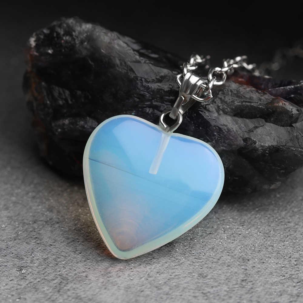 หัวใจโอปอลหินธรรมชาติคริสตัลควอตซ์คริสตัล Chakra จี้สร้อยคอหิน