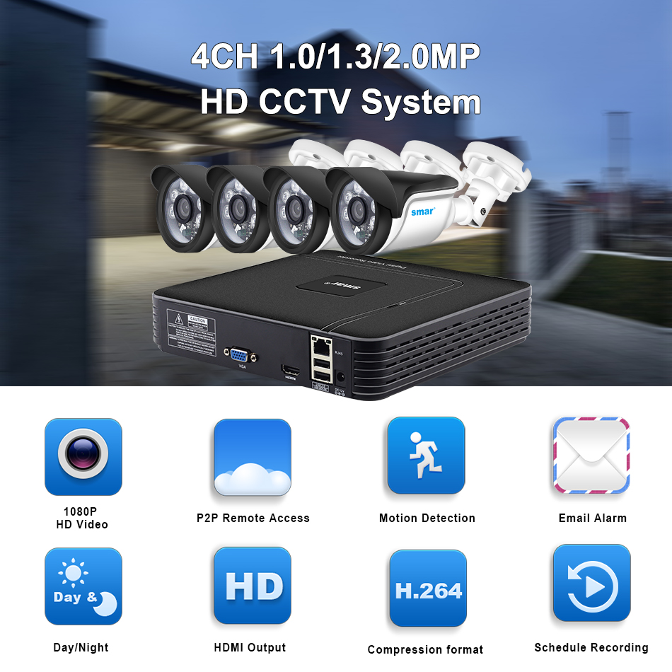 Smar HD 4CH 1080P NVR CCTV Kit 4PCS 1MP1.3MP2MP Outdoor IP Camera Kit Home Security CCTV System HDMI P2P Email Alarm (1)