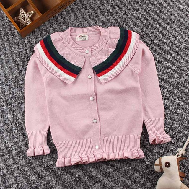 facc6278758f Everweekend Kids Girls Candy Stripes Sweater Cardigans Jackets Pink ...