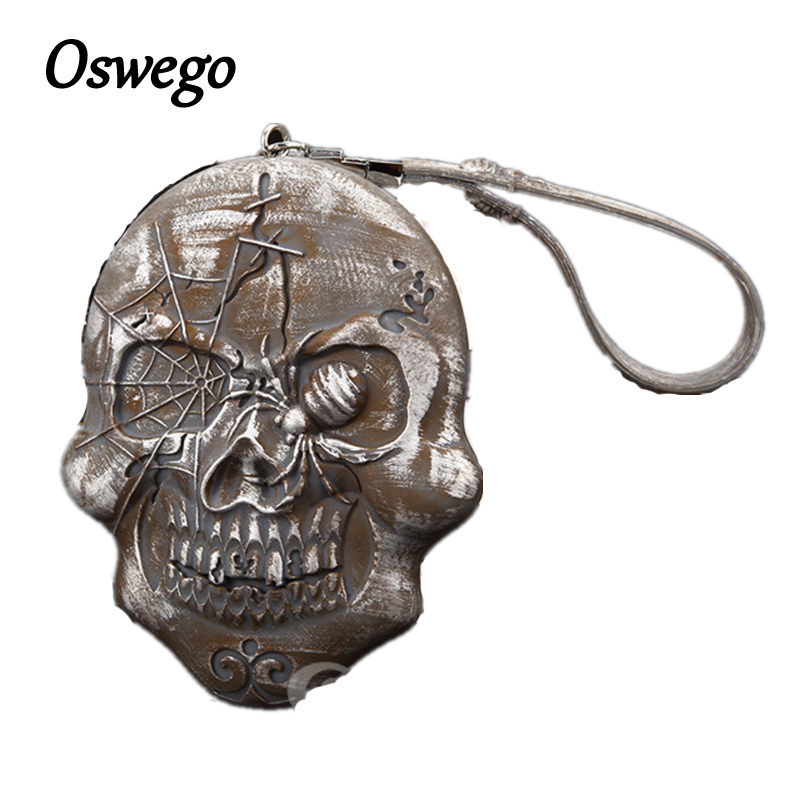 OSWEGO Vintage Design Waterproof Skull Silicon Purse Zipper Pouch Coin Purse Coins Key Bag Small Change Purse Money Bag