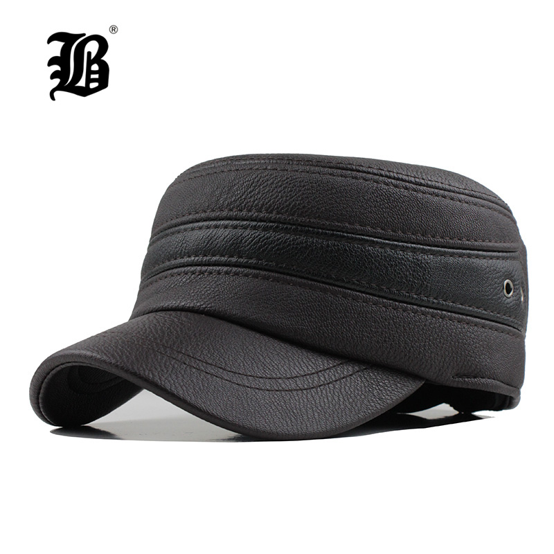 [FLB] Winter Mens Faux leather Cap Warm Hat Baseball Cap With Ear Flaps Russia Flat Top Caps For Men Casquette mens winter leather cap warm patchwork dad hat baseball caps with ear flaps russia adjustable snapback hats for men casquette