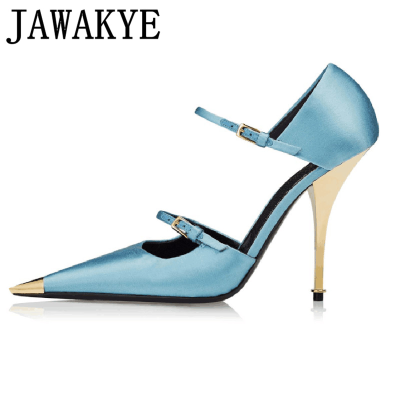 Sexy Pointed Toe Satin Mary Janes Celebrity Party Dress Shoes Women Formal Wedding Shoes Gold metal High Heels pumps