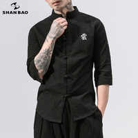 SHANBAO brand original Chinese style embroidery button cotton and linen short-sleeved shirt 2019 summer new men's casual shirt