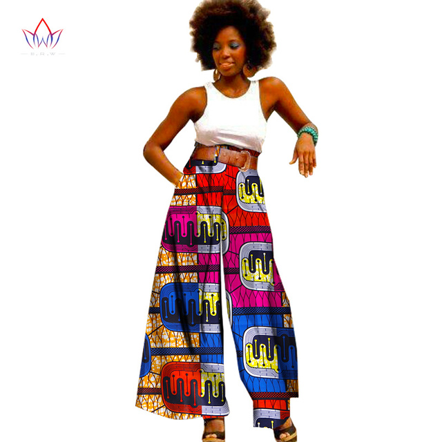 8117c527e3 2019 Fashion African Print Pants Plus Size African Clothing for Women  Dashiki Office High Waist Loose