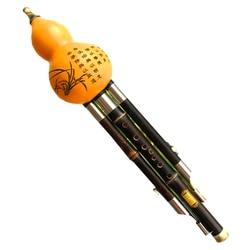 Cucurbit hulusi flauta natural cabaça e bambu flauta hulusi c/bb chave instrumento musical profissional destacável flauta hulusi