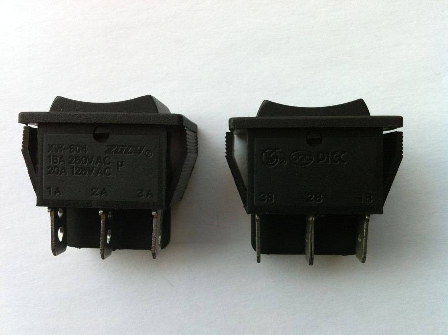 KCD XW-604AB3 AC swicths 6 pin 3 position on-off-on black electrical rocker switch for electronic equipment 20A/250V AC