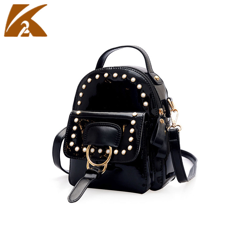 KVKY Leather Backpack Women Mochila Mujer 2018 Vintage Back Pack Women Backpacks Fashion Rivet School Bags for Teenage Girls Bag