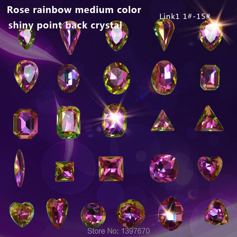 AAAAA grade 99% Similar Swa Rose ab medium Czech Crystal Rhinestone pointback Nail Art Decoration stones Multi Shape No1tNo15 ...