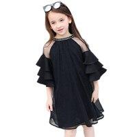 Zomer Meisjes 2018 Nieuwe Mode Flare Mouw Zwart Kleur Chiffon Jurk voor Tienermeisje Prinses Kids Jurk DQ858