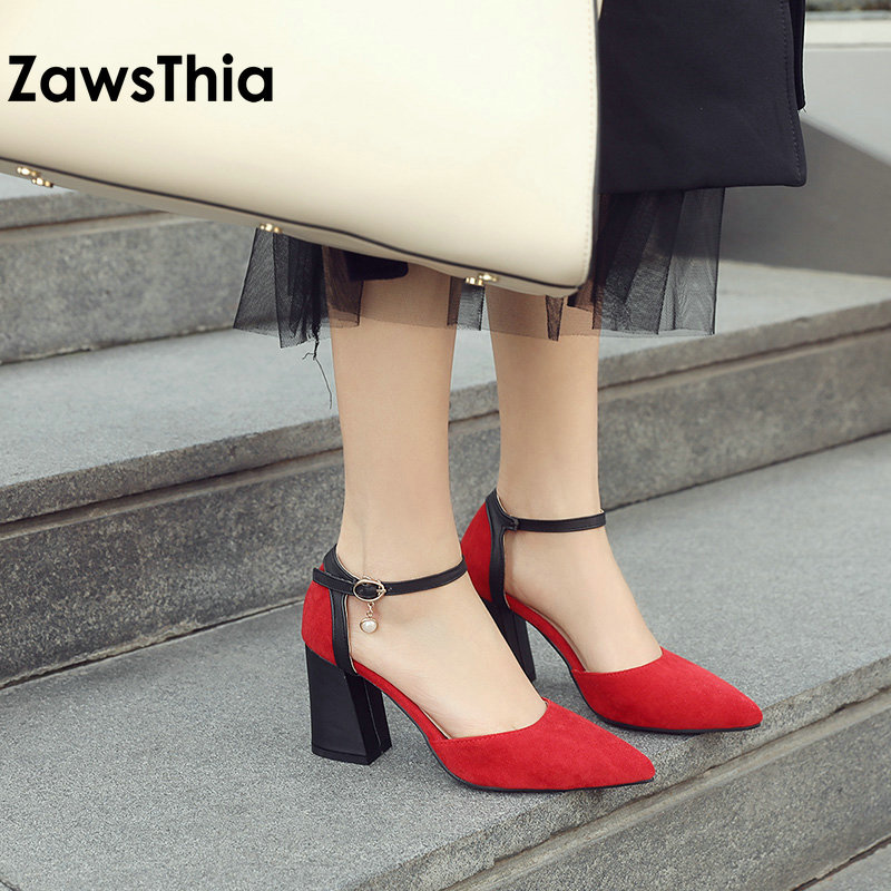 ZawsThia 2019 Chaussures Femme Ankle Wrap Block High Heels Pearls Ladies Summer Shoes Pumps Women Sandals Sandalias Mujer 33-46