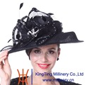 Kueeni Women Hats Stones Wide Brim Black Veilings Sinamay Hats  Veil Feather Decorate Special Designer Elegant Lady Church Hats
