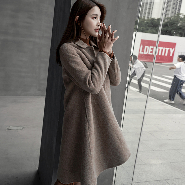 2018 winter new double-faced cashmere coat female Albaka wool woolen coat in the long section of small cloak