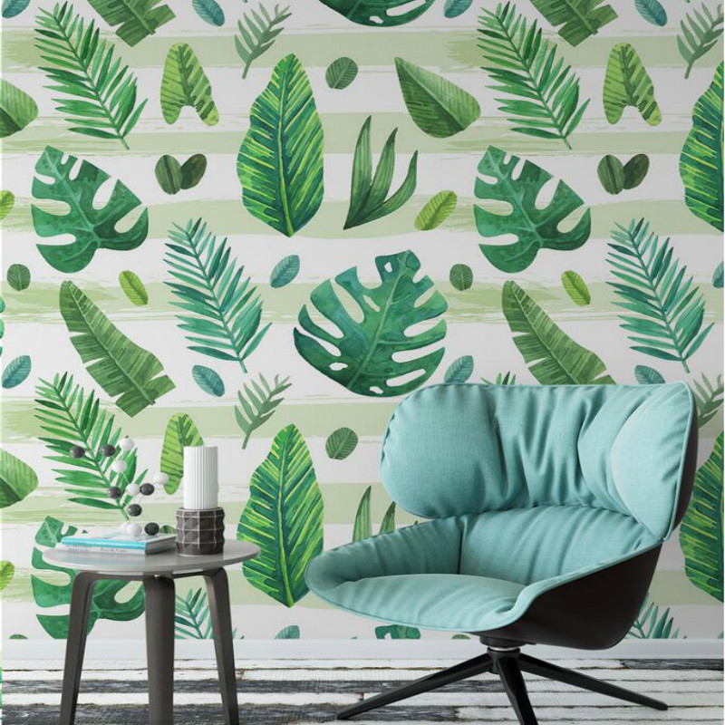 Fresh Green Hand Painted Tropical 3d Wall Paper Vintage Decorative Painting 3d Wallpaper for Walls Background Home Improvement hand painted silk wallpaper painting lotus with birds hand painted wall paper wallcovering many pictures backgrounds optional