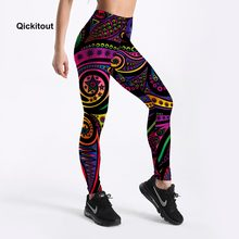 9a380f0b46ddc Women Summer Pants Color Totem Printed Black Sexy Leggings Plus Size Casual  Street Wear High Waist Leggings