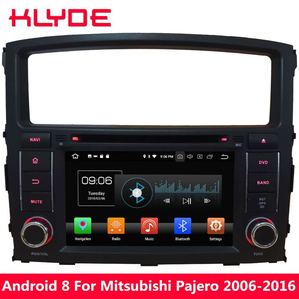 KLYDE Octa Core 4GB RAM Android 8 Car DVD Player For Mitsubishi Pajero V97 V93 2006 2007 2008 2009 2010 2011 2012 2013 2014-2016 ostin рубашка в клетку из твила