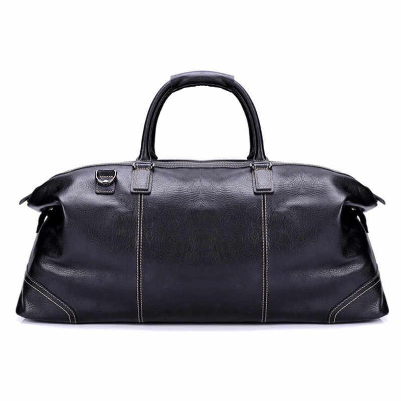 Натуральная кожа Для мужчин дорожные сумки, чемоданы для путешествия мужские модные большие сумки для ручного багажа большие сумки мужские высокого качества черные Бизнес через плечо сумки из натуральной кожи