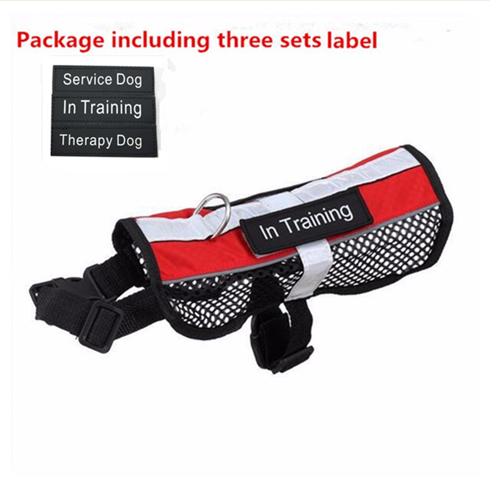 Reflective Breathable service dog harness vest removable tape pet harness mesh vest three designs labels harness for dogs