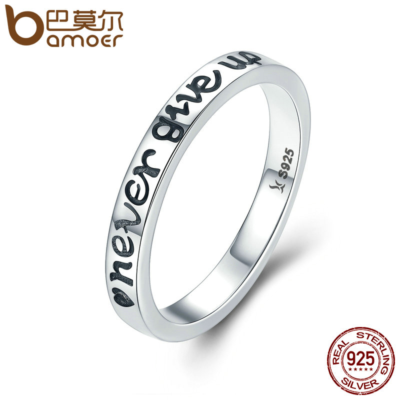 BAMOER Hot Sale 100% 925 Sterling Silver Never Give Up Letter Alphabet Ring Women Luxury Sterling Silver Jewelry S925 SCR204 never give up ma yun s story the aliexpress creator s online businessman famous words wisdom chinese inspirational book