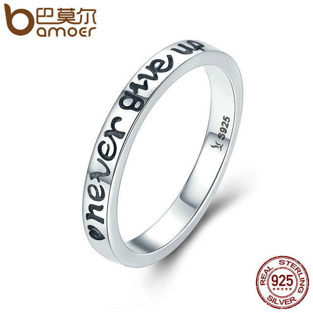 BAMOER Hot Sale 100% 925 Sterling Silver Never Give Up Letter Alphabet Ring Wome