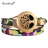 Everlead Wrap Bracelets Camo Gold Color Plated Genuine Leather Tree Of Life Essential Oil Diffuser Screw