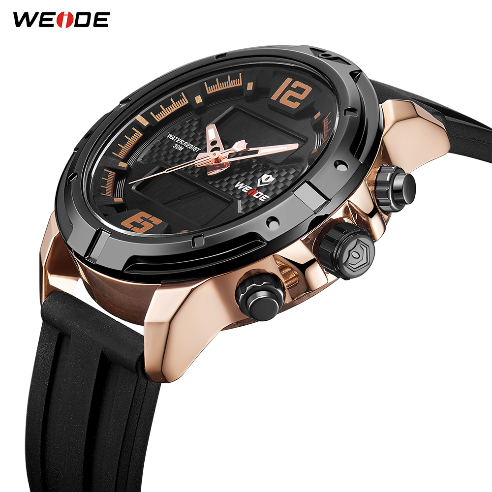 WEIDE New Arrival Men Watch Casual Fashion Analog LCD Digital Movement Silicone Strap Metallic Box Quartz Wristwatch Hour